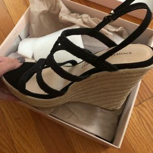 Brand new black strappy wedges